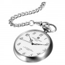 Stainless Steel Brushed Finish Open Face Quartz Pocket Watch