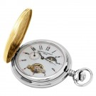 Stainless Steel Two-Tone Demi Hunter Case Mechanical Pocket Watch