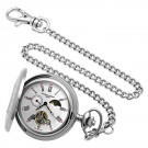 Stainless Steel Demi Hunter Case Mechanical Pocket Watch