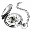 Stainless Steel Polished Finish Demi Hunter Case Mechanical Pocket Watch
