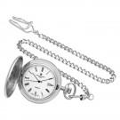 Rhodium-Plated Brushed Finish Hunter Case Quartz Pocket Watch