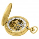 Gold-Plated Brushed Finish Double Hunter Case Mechanical Pocket Watch