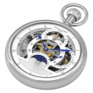 Polished Finish Open Face Dual Time Mechanical Pocket Watch