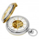 Two-Tone Hunter Case Picture Frame Mechanical Pocket Watch