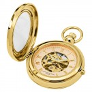 Gold-Plated Polished Finish Hunter Case Picture Frame Mechanical Pocket Watch