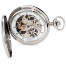 Charles-Hubert Paris Stainless Steel Polished Finish Hunter Case Mechanical Pocket Watch