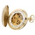 Charles-Hubert Paris Gold-Plated Stainless Steel Satin Finish Hunter Case Mechanical Pocket Watch