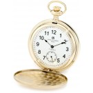 Charles-Hubert Paris Gold-Plated Stainless Steel Satin Finish Double Hunter Case Mechanical Pocket Watch
