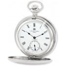 Charles-Hubert Paris Stainless Steel Satin Finish Double Hunter Case Mechanical Pocket Watch