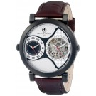 Charles-Hubert Paris Men's Black Plated Stainless Steel Dual Time Mechanical and Quartz Watch